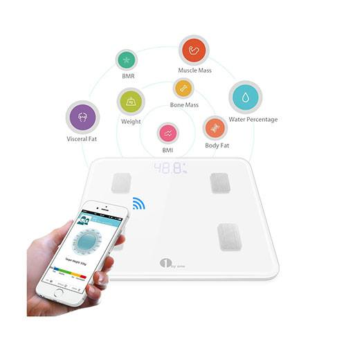 1byone digital scale next to a smartphone