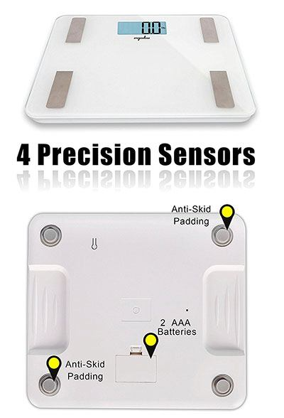 Sensors on the eqoba body fat scale